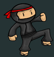 Ninja asia cartoon danger character vector image