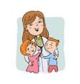 paediatric doctor with children vector image