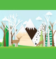paper art deer in forest with mountain background vector image