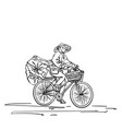 person in vietnamese hat cycling on heavy loaded vector image