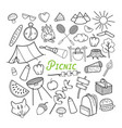 picnic hand drawn doodle outdoor activities vector image vector image