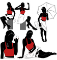 Pin up silhouettes vector image