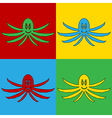 Pop art octopus icons vector image