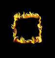 realistic detailed 3d fire rectangle frame or vector image vector image