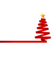 red christmas tree made from ribbon vector image
