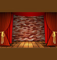 Red curtains on brick wall vector image vector image