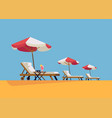row waterside chaise lounges with parasols vector image