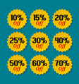 sale tags 10 15 20 25 30 40 50 60 percent vector image