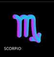 scorpio text horoscope zodiac sign 3d shape vector image