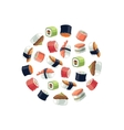 Sushi rolls flat food background picture vector image vector image