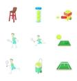 Tennis sport icons set cartoon style vector image vector image