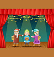 three kids singing christmas carols on stage vector image vector image