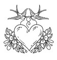 two swallows carry heart decorated with flowers vector image vector image