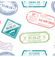 visa and passport stamps upon departure and vector image