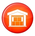 Warehouse building icon flat style