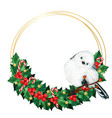 watercolor cute long tailed tit bird on a holly vector image vector image