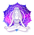 woman meditating on sahasrara chakra background vector image