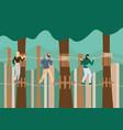 young people walking in raw on suspension bridge vector image vector image
