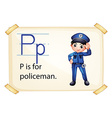 A letter P for policeman vector image vector image