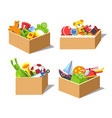 cardboard boxes with kids favorite toys for vector image vector image