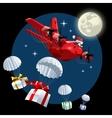 Cartoon Christmas Cargo Airplane vector image vector image