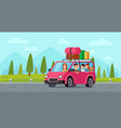 cartoon family travel in car happy father mother vector image