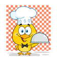 chef yellow chick holding a cloche platter vector image vector image