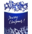 Christmas blue background with silver fir twigs vector image vector image