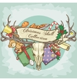 christmas reindeer skull label design vector image