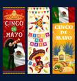 cinco de mayo banners cartoon mariachi vector image vector image