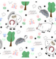 cute childish seamless pattern with funny animals vector image