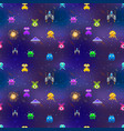 cute space invaders in pixel art style on deep vector image