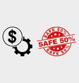 dollar setup gear icon and distress safe 50 vector image vector image