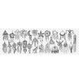 dream catcher hand drawn doodle set vector image