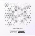elderly people concept in honeycombs vector image vector image