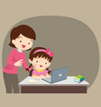 girl and mother sitting with laptop vector image vector image