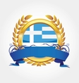 greece shiny button flag with golden frame vector image