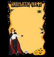 halloween frame with vampire and wineglass vector image vector image