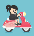happy business woman with scooter vector image