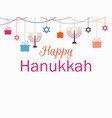 happy hanukkah greeting card candlestick vector image vector image