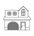 house home construction garage residential outline vector image vector image