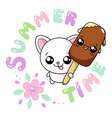 kawaii of a cute cat with icecream and lettering vector image