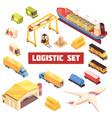 logistic transportation isometric elements set vector image vector image