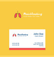 lungs logo design with business card template vector image vector image