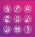 medicaments line icons vector image