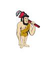 Neanderthal CaveMan Plumber Monkey Wrench Cartoon vector image