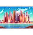 new york city skyline cartoon background vector image