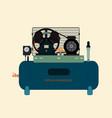 reciprocating piston air compressor vector image