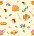 seamless pattern with honey bees honeycomb vector image vector image