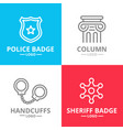 set of crime law police and justice logo vector image